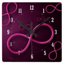 Girly Pink Infinity Symbol   Wall Clock
