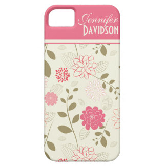 Girly Pink Ivory Tan Floral Monogram iPhone5 iPhone SE/5/5s Case