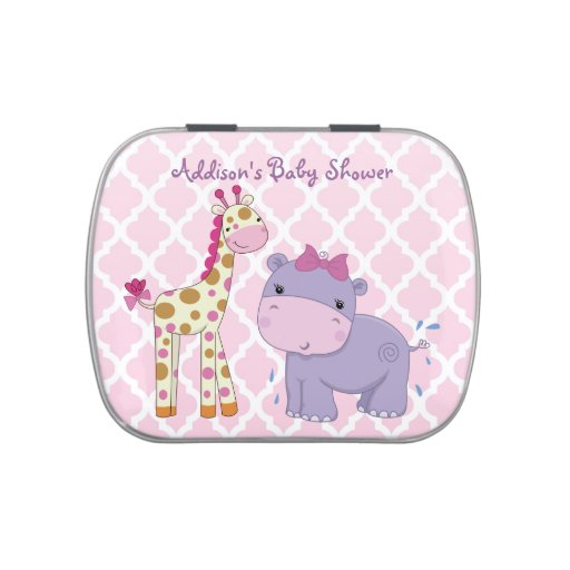 girly pink jungle themed baby shower candy tin zazzle