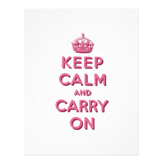 Girly Pink Keep Calm and Carry On Flyer