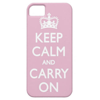 Girly Pink Keep Calm and Carry On Iphone 5 Case