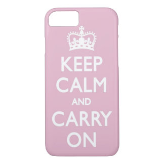 Girly Pink Keep Calm and Carry On iPhone 7 case