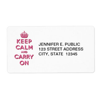 Girly Pink Keep Calm and Carry On Label