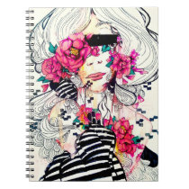 Girly pink lady, floral art, watercolor flower art notebook