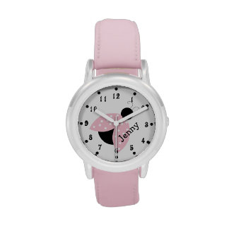 Girly Pink Ladybug Girl's Custom Watch