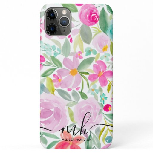 Girly pink lavender floral watercolor monogram iPhone 11 pro max case