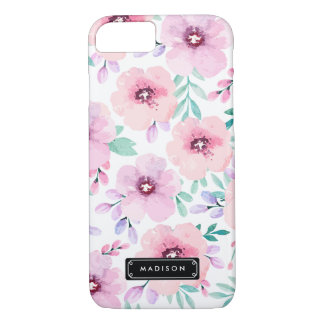 Girly Pink Lavender Watercolor Floral Custom iPhone 7 Case