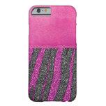 Girly Pink Leather Zebra Pattern Glitter iPhone 6 Case