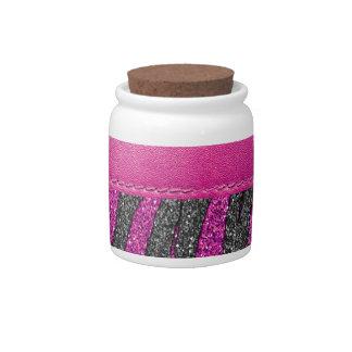Girly Pink Leather Zebra Pattern Glitter Print Candy Dishes