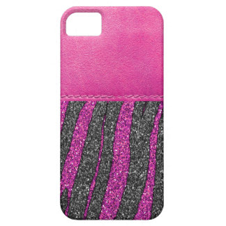 Girly Pink Leather Zebra Pattern Glitter Print iPhone 5 Cover