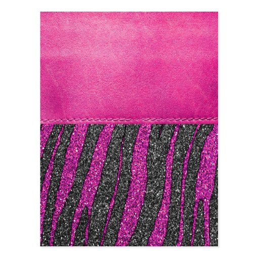 Girly Pink Leather Zebra Pattern Glitter Print Postcard