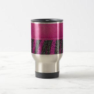 Girly Pink Leather Zebra Pattern Glitter Print Travel Mug
