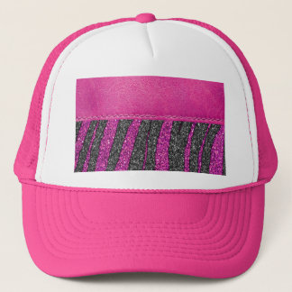 Girly Pink Leather Zebra Pattern Glitter Print Trucker Hat