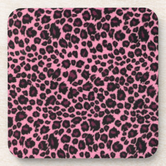 Girly Pink Leopard Cheetah Print Drink Coaster