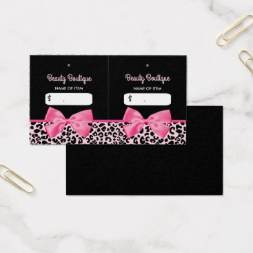 Professional Business Girly Pink Leopard Print Bow Boutique Hang Tags