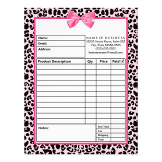 Girly Pink Leopard Print Bow Boutique Order Forms Letterhead