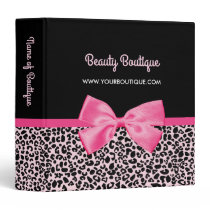 Girly Pink Leopard Print Cute Bow Beauty Boutique Binder
