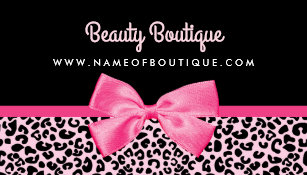 Hot pink and black business cards templates zazzle girly pink leopard print cute bow beauty boutique business card reheart Images