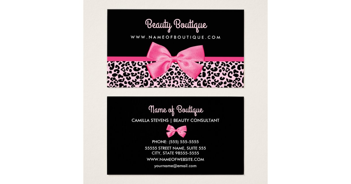 Girly Pink Leopard Print Cute Bow Beauty Boutique Business Card ...