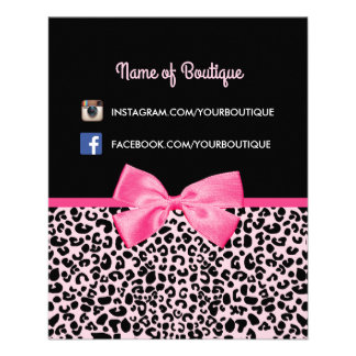 Girly Pink Leopard Print Cute Bow Beauty Boutique Flyer