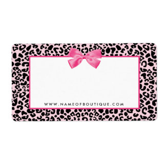 Girly Pink Leopard Print Cute Bow Beauty Boutique Label