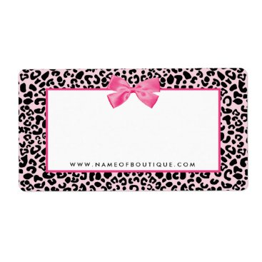 Professional Business Girly Pink Leopard Print Cute Bow Beauty Boutique Label