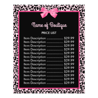 Girly Pink Leopard Print Cute Bow Boutique Price Flyer