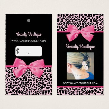 Professional Business Girly Pink Leopard Print Cute Bow Photo Pricetag Business Card