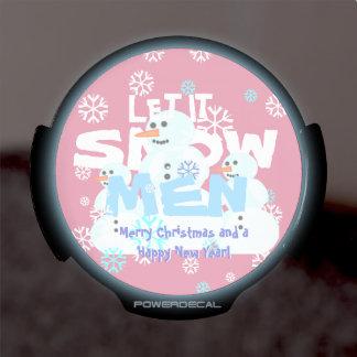 Girly Pink Let It Snow Men Snowmen Tacky Christmas LED Car Decal