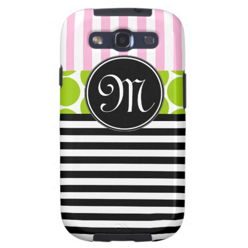 GIRLY PINK LIME GREEN BLACK STRIPES GALAXY SIII COVER