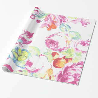 Girly pink modern trendy watercolor floral pattern wrapping paper