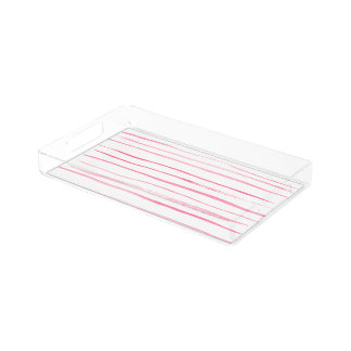 Girly pink modern watercolor hand made stripes serving tray