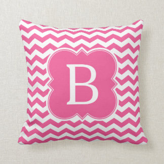 Girly Pink Monogram Chevron Stripes Throw Pillow