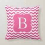 Girly Pink Monogram Chevron Stripes Throw Pillow