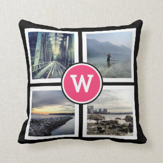 Girly Pink Monogram Instagram Photos 2 Sided Throw Pillows