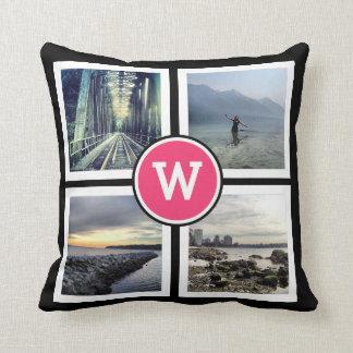 Girly Pink Monogram Instagram Photos 2 Sided Throw Pillow