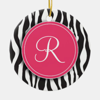 Girly Pink Monogram Zebra Print Ornament