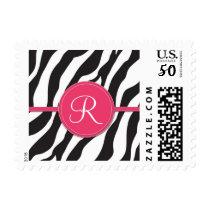 Girly Pink Monogram Zebra Print Postage