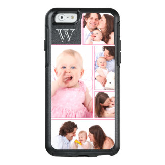 Girly Pink Monogrammed 5 Photo Collage OtterBox iPhone 6/6s Case