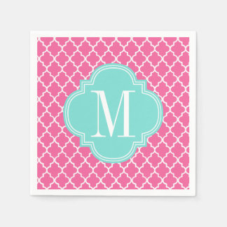 Girly Pink Moroccan Tiles Lattice Personalized Paper Napkin