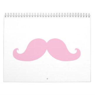 Girly Pink Mustache Calendar