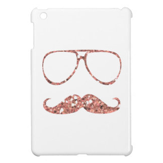 GIRLY PINK MUSTACHE GLASSES GLITTER iPad MINI CASES