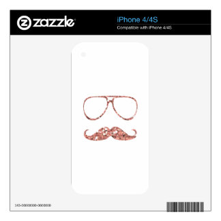 GIRLY PINK MUSTACHE GLASSES GLITTER iPhone 4 DECALS