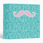 GIRLY PINK MUSTACHE ON TEAL GLITTER EFFECT 3 RING BINDERS