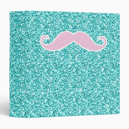 GIRLY PINK MUSTACHE ON TEAL GLITTER EFFECT BINDER