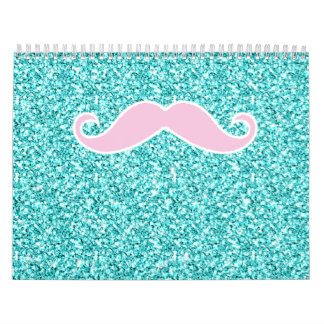 GIRLY PINK MUSTACHE ON TEAL GLITTER EFFECT CALENDAR