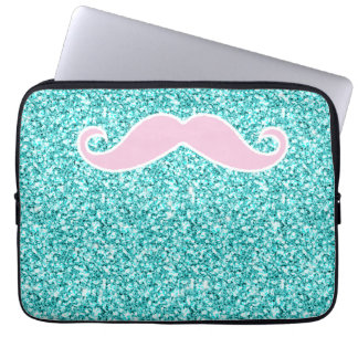 GIRLY PINK MUSTACHE ON TEAL GLITTER EFFECT LAPTOP COMPUTER SLEEVE
