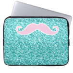 GIRLY PINK MUSTACHE ON TEAL GLITTER EFFECT LAPTOP SLEEVE