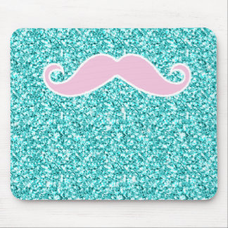 GIRLY PINK MUSTACHE ON TEAL GLITTER EFFECT MOUSE PAD
