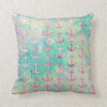 Girly Pink Nautical Anchors Turquoise Watercolor Pillows